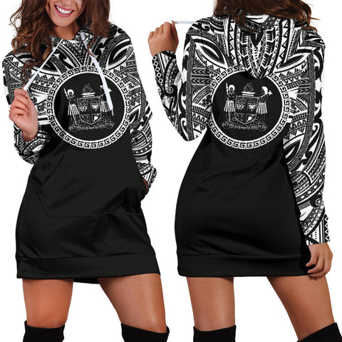 Fiji Women Hoodie Dress - Fiji Coat Of Arms Polynesian Black Color
