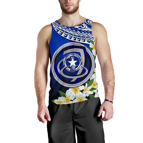 Image of Northern Mariana Islands Men's Tank Top - Polynesian Plumeria Pattern - BN39