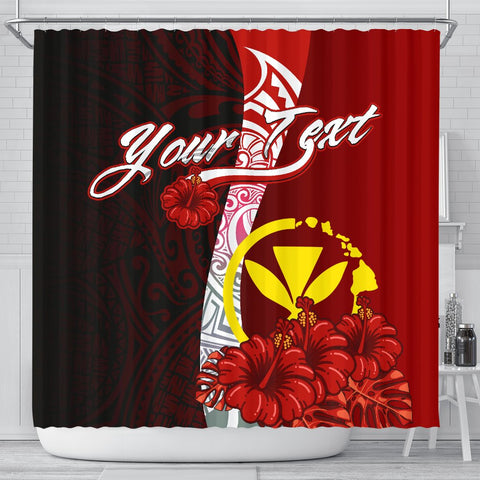 Hawaii Polynesian Custom Personalised Shower Curtain - Coat Of Arm With Hibiscus