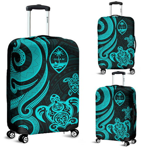 Guam Polynesian Luggage Covers - Turquoise Tentacle Turtle