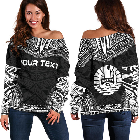 Tahiti Polynesian Chief Custom Personalised Women's Off Shoulder Sweater - Black Version - Polynesian Apparel, Poly Clothing, Women Sweater