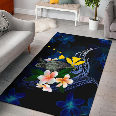 Polynesian Hawaii Area Rug - Turtle With Plumeria Flowers