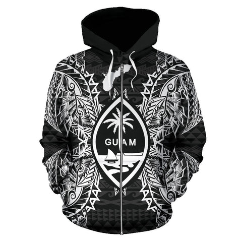Image of Guam Polynesian All Over Zip Up Hoodie Map Black