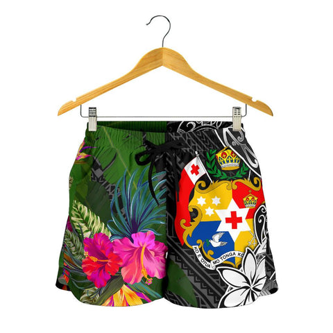Image of Tonga Women Shorts - Turtle Plumeria Banana Leaf - BN11