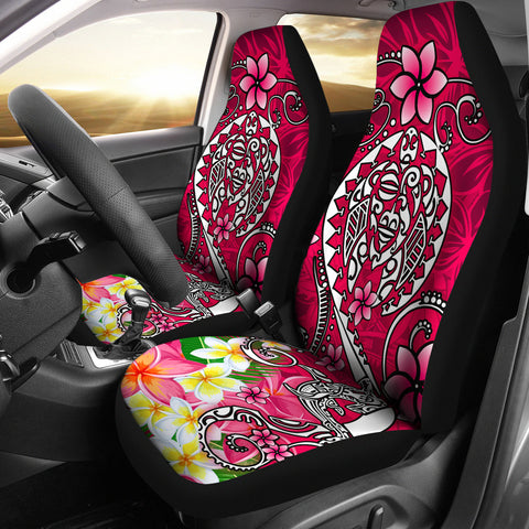Polynesian Car Seat Covers - Turtle Plumeria Pink Color