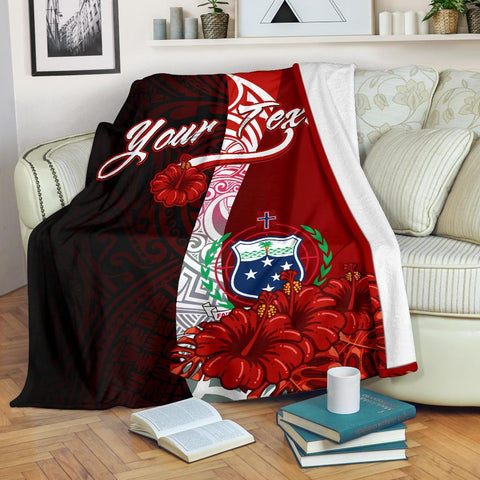 Samoa Polynesian Custom Personalised Premium Blanket - Coat Of Arm With Hibiscus