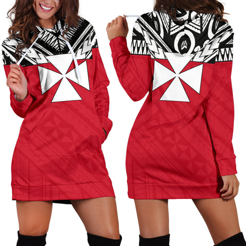 Image of Wallis And Futuna Women's Hoodie Dress - Polynesian Design Front