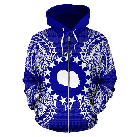 Cook Islands Polynesian All Over Zip Up Hoodie Map Blue