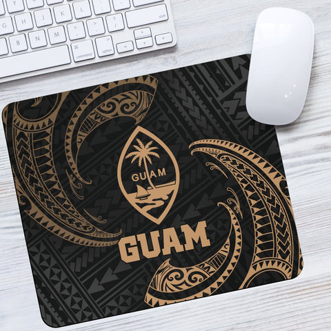 Guam Polynesian Mouse Pad - Gold Tribal Wave