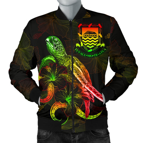 Tuvalu Polynesian Men's Bomber Jacket - Turtle With Blooming Hibiscus Reggae
