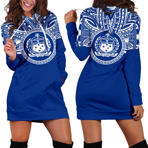 Samoa Women Hoodie Dress - Samoa Coat Of Arms Polynesian Flag Color