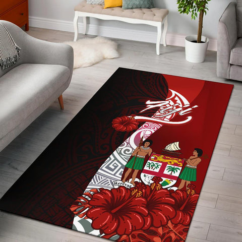 Fiji Polynesian Area Rug - Coat Of Arm With Hibiscus