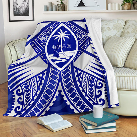 Guam Polynesian Premium Blanket - Guam White Seal with Polynesian Tattoo Ver 02