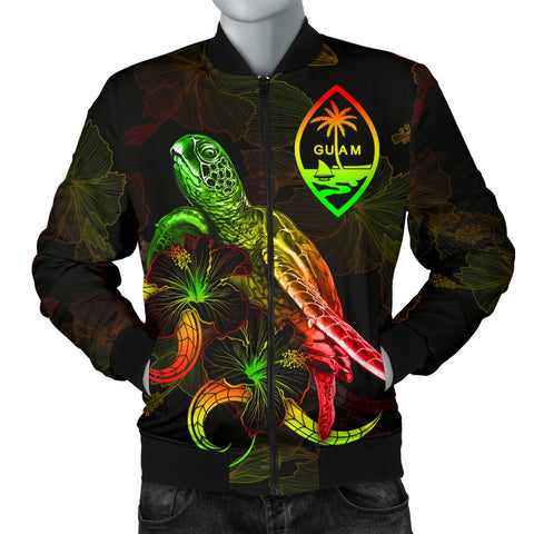 Image of Guam Polynesian Women's Bomber Jacket - Turtle With Blooming Hibiscus Reggae