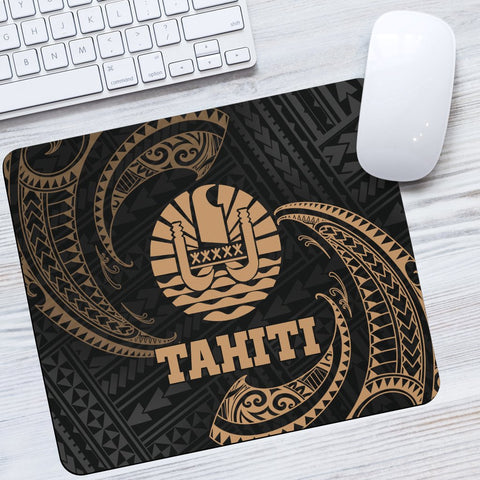 Tahiti Polynesian Mouse Pad - Gold Tribal Wave