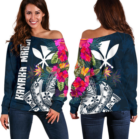 Hawaii Off Shoulder Sweater - Polynesian Hibiscus with Summer Vibes