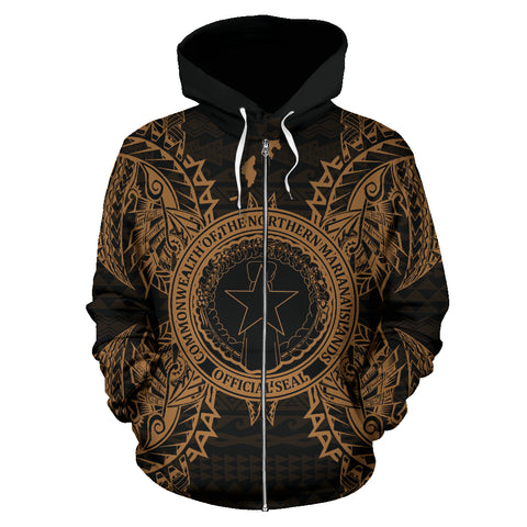 Northern Mariana Islands Polynesian All Over Zip Up Hoodie Map Gold