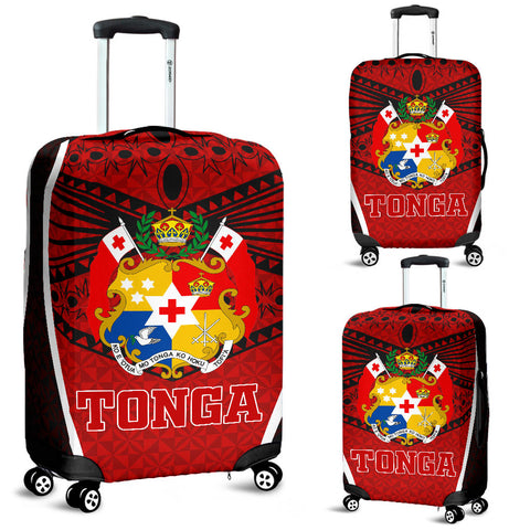 Image of Tonga Polynesian Luggage Covers - Red Pattern