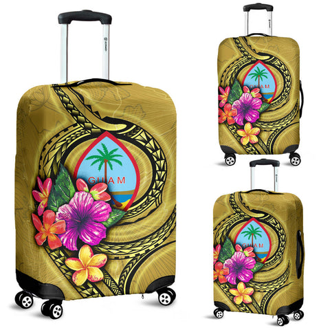 Guam Polynesian Luggage Covers - Floral With Seal Gold