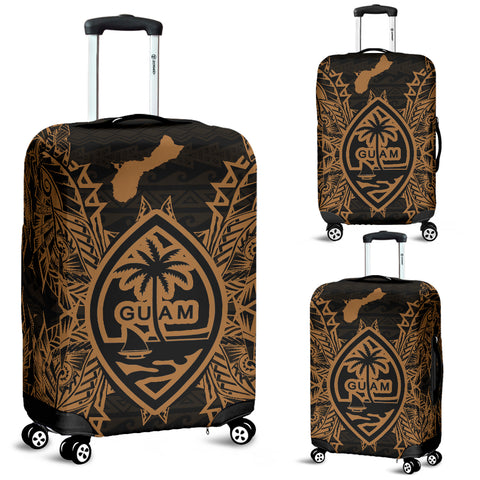 Guam Polynesian Luggage Covers Map Gold