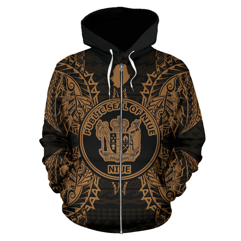 Image of Niue Polynesian All Over Zip Up Hoodie Map Gold