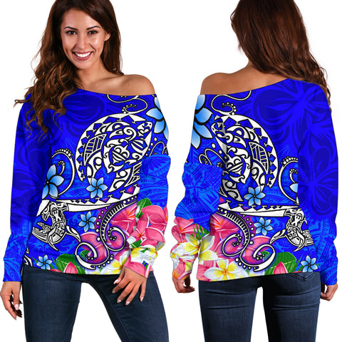 Polynesian Women's Off Shoulder Sweater - Turtle Plumeria Blue Color
