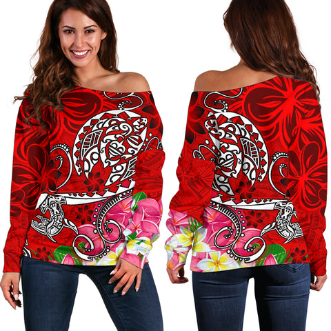 Polynesian Women's Off Shoulder Sweater - Turtle Plumeria Red Color