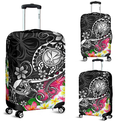 Hawaii Polynesian Luggage Covers - Turtle Plumeria (Black)