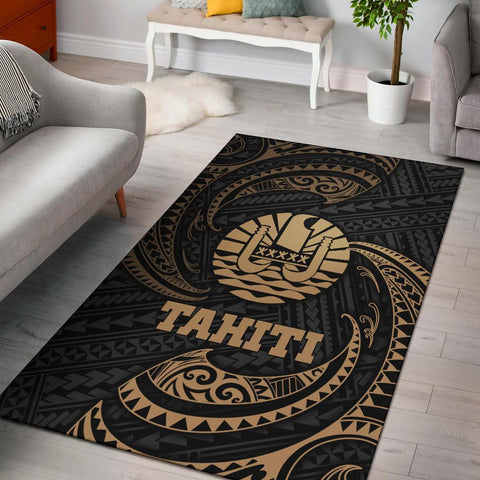 Tahiti Polynesian Area Rug - Gold Tribal Wave