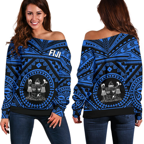 Fiji Women's Off Shoulder Sweater - Fiji Seal With Polynesian Tattoo Style (Blue)