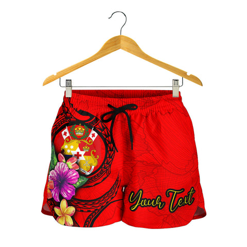 Tonga Custom Personalised Polynesian Women's Shorts - Floral With Seal Red - BN12