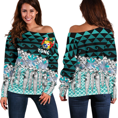 Tonga Women's Off Shoulder Sweaters  - Coconut Leaves Weave Pattern Blue - BN20