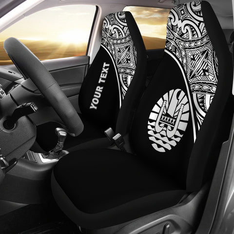 Tahiti Polynesian Custom Personalised Car Seat Covers - Black Curve