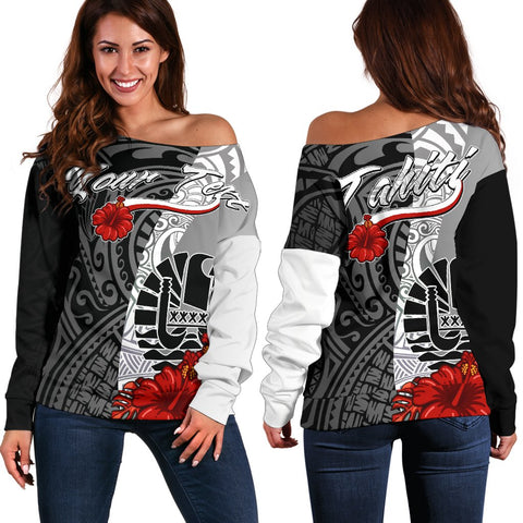 Tahiti Polynesian Custom Personalised Women's Off Shoulder Sweater - Coat Of Arm With Hibiscus White