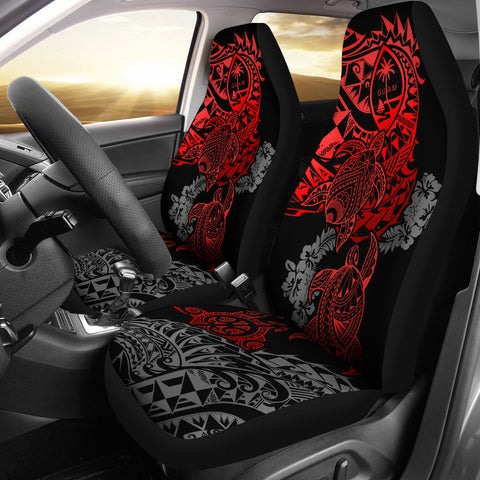 Guam Polynesian Car Seat Covers - Red Turtle Flowing