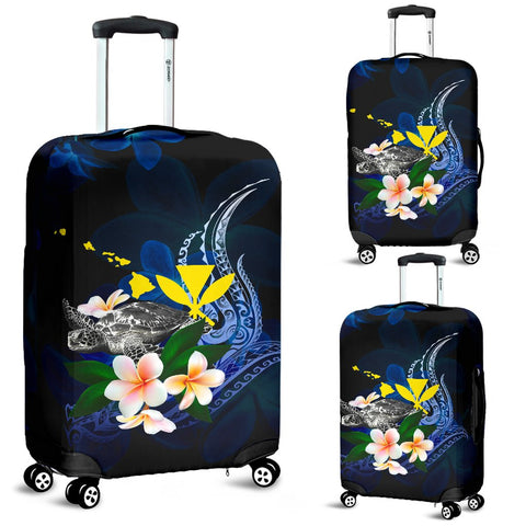 Polynesian Hawaii Luggage Covers - Turtle With Plumeria Flowers
