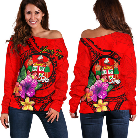 Fiji Polynesian Custom Personalised Women's Off Shoulder Sweater - Floral With Seal Red