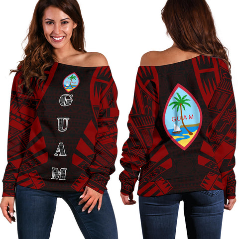 Guam Women's Off Shoulder Sweater - Polynesian Tattoo Red
