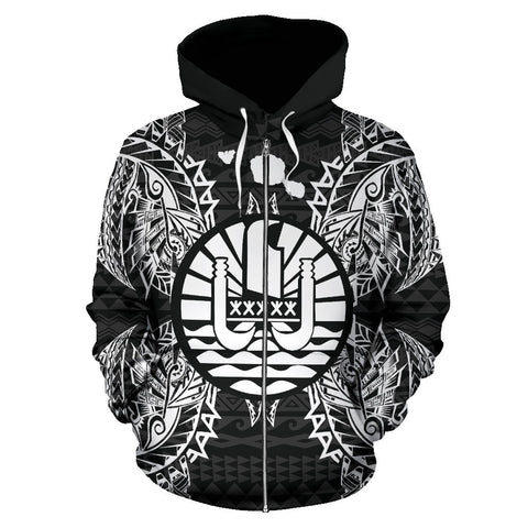 Image of French Polynesia Polynesian All Over Zip Up Hoodie Map Black
