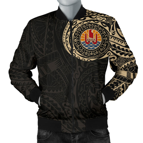 Image of Tahiti in My Heart Polynesian Tattoo Style Men's Bomber Jacket A7