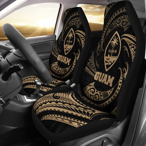 Image of Federated States of Micronesia Car Seat Covers - Gold Tribal Wave