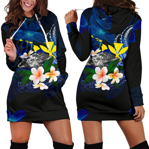 Polynesian Hawaii Women's Hoodie Dress - Turtle With Plumeria Flowers