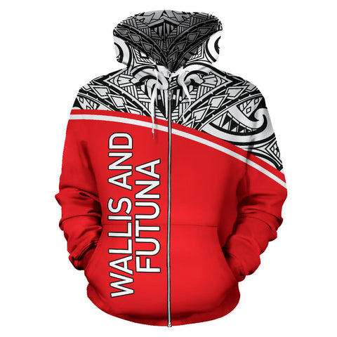 Wallis And Futuna All Over Zip-Up Hoodie - Polynesian Curve Style - BN09