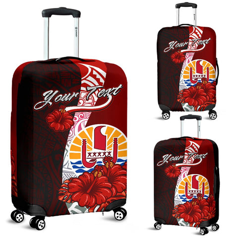Tahiti Polynesian Custom Personalised Luggage Covers - Coat Of Arm With Hibiscus