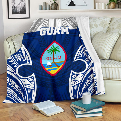 Guam Polynesian Premium Blanket - Pattern With Seal Blue Version