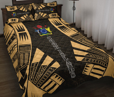 Cook Islands Polynesian Quilt Bed Set - Yellow Tattoo Style - BN0112