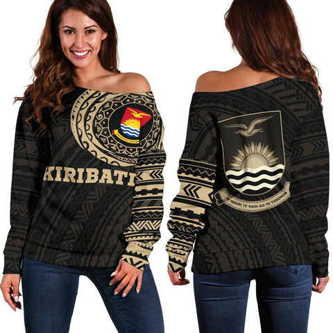 Image of Kiribati in My Heart Micronesia Tattoo Style Off Shoulder Sweater A7 1ST