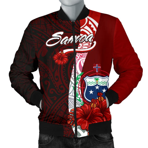Image of Samoa Polynesian Men's Bomber Jacket - Coat Of Arm With Hibiscus