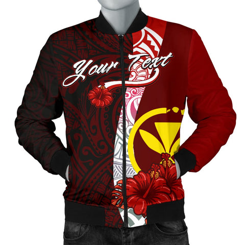 Hawaii Polynesian Custom Personalised Men's Bomber Jacket - Coat Of Arm With Hibiscus