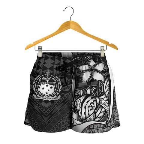 Samoa Polynesian Women's Shorts White - Turtle With Hook - BN11